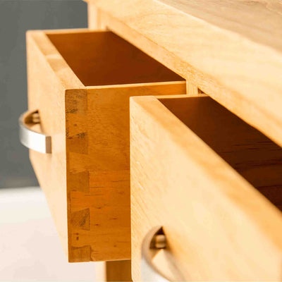 Open drawer on the London Oak Console Table by Roseland Furniture