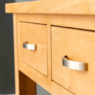 Metal handles on the London Oak Console Table by Roseland Furniture