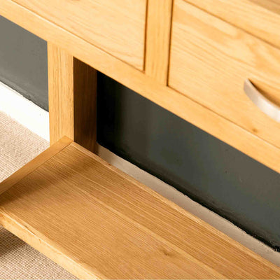 Shelf on the London Oak Console Table by Roseland Furniture