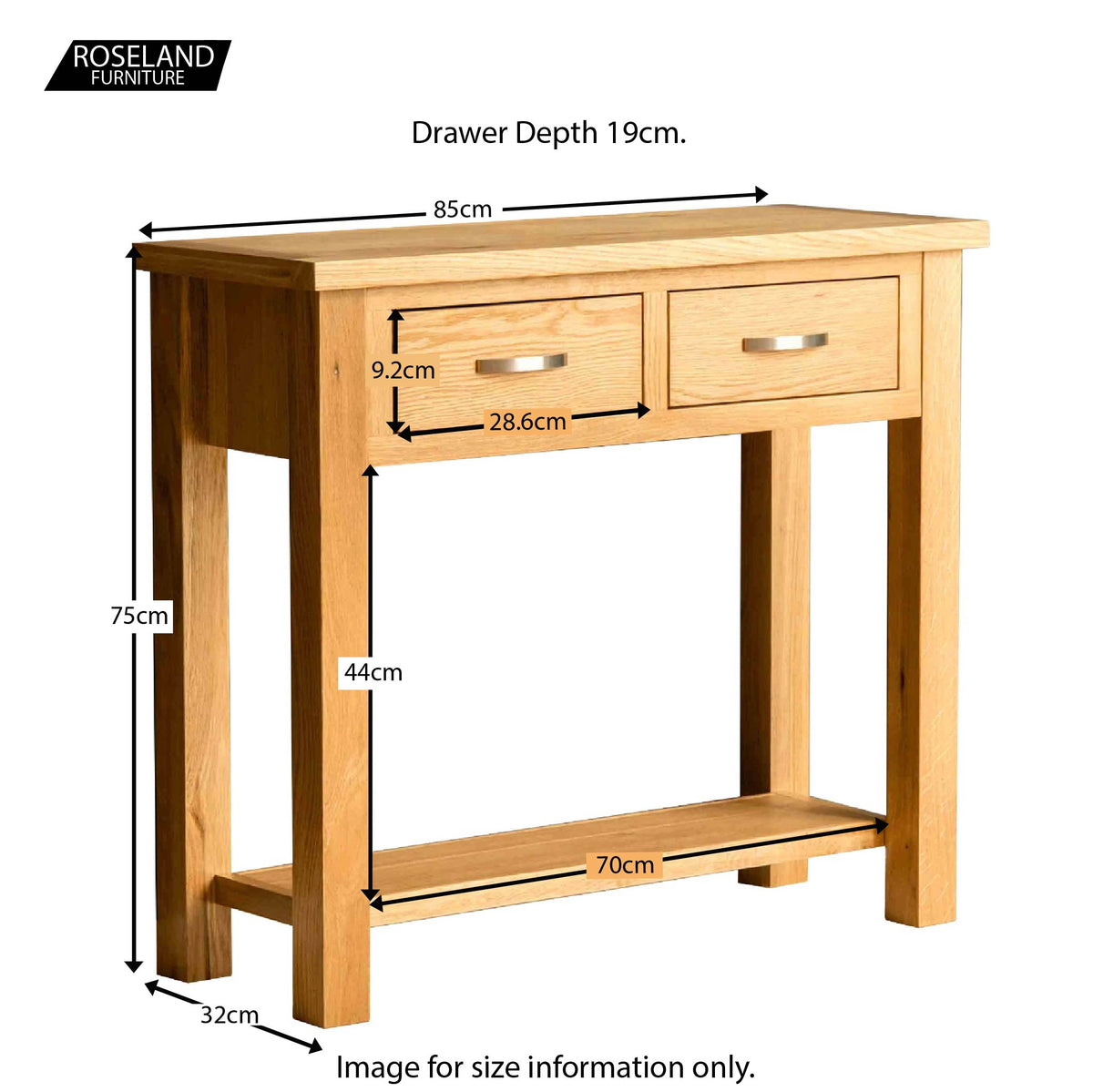 London Oak Console Table - Size Guide