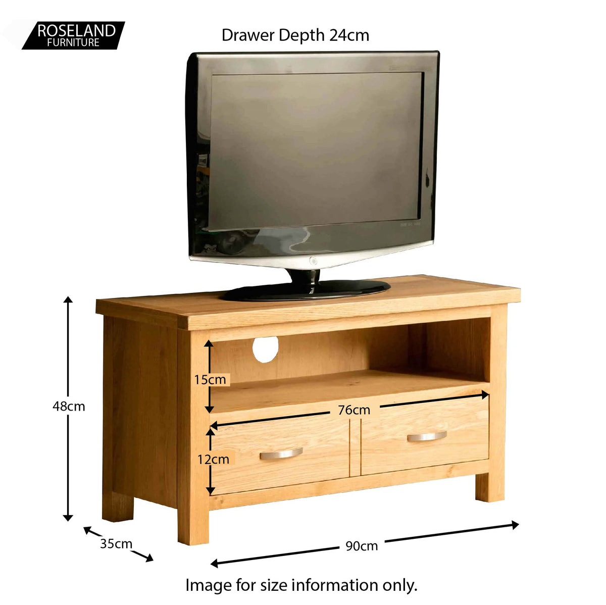 The London Oak 90cm TV Stand - size guide