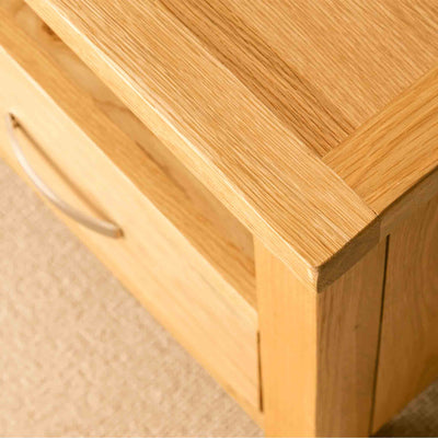 View of the top surface of a London Oak 90cm TV Stand