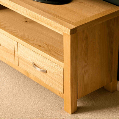 Drawer closed on a London Oak 90cm TV Stand