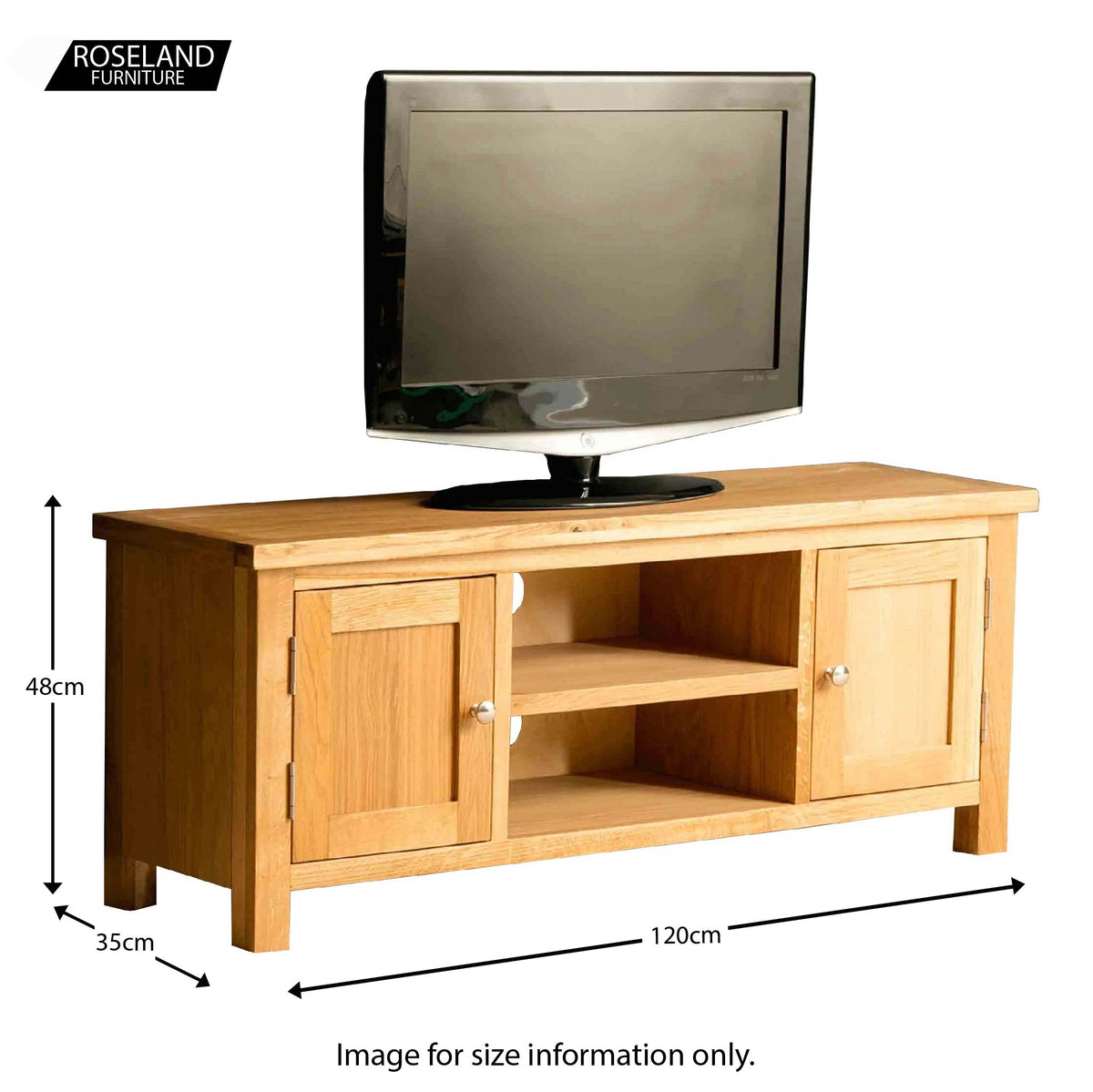 The London Oak 120cm TV Stand - size guide