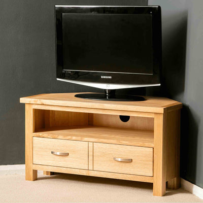 Side view of the London Oak Corner TV Stand by Roseland Furniture