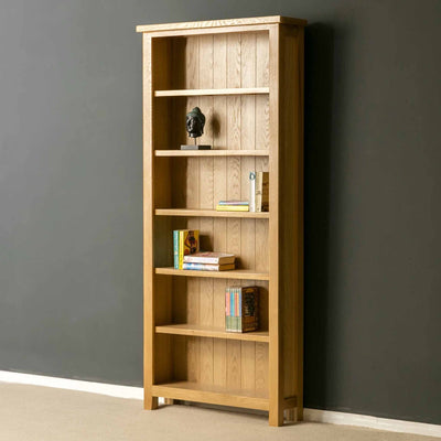 Side View of a London Oak Large Bookcase by Roseland Furniture