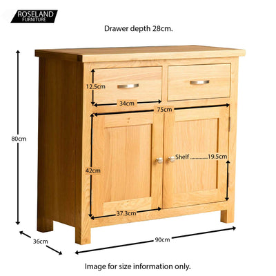 London Oak Small Sideboard - Size guide