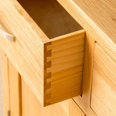 Dovetails joints on a London Oak Small Sideboard.
