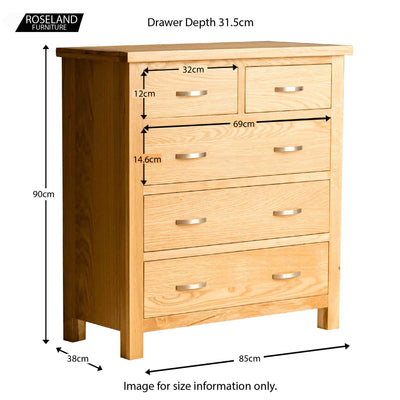 London Oak 2 over 3 Drawer Chest - size guide