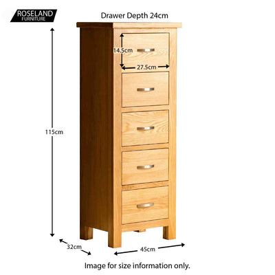 London Oak Tallboy Chest - size guide