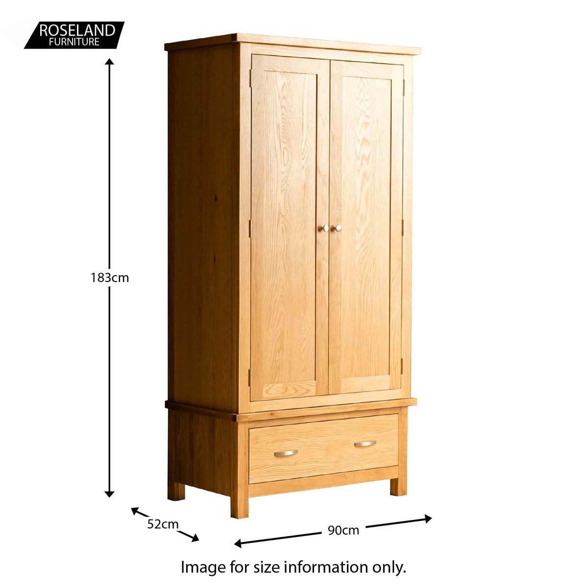 London Oak Bedroom Set - double wardrobe size guide