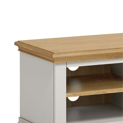 Normandy Grey 90cm TV Stand - Close up of Oak Top
