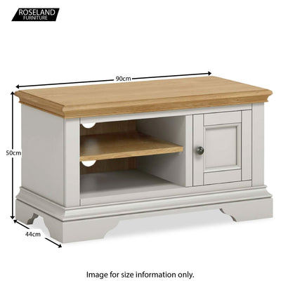 Normandy Grey 90cm TV Stand - Size Guide