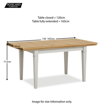 Normandy Grey 120-165cm Dining Table - Size Guide