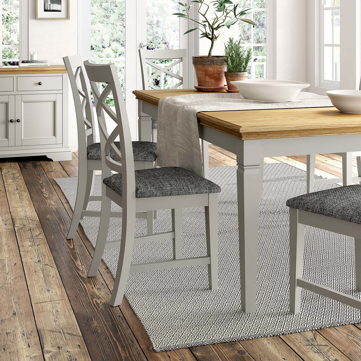 Normandy Grey 120-165cm Dining Table - Lifestyle