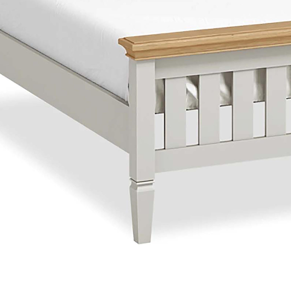 "Normandy Grey 4'6"" Bed Frame - Close Up of Leg"