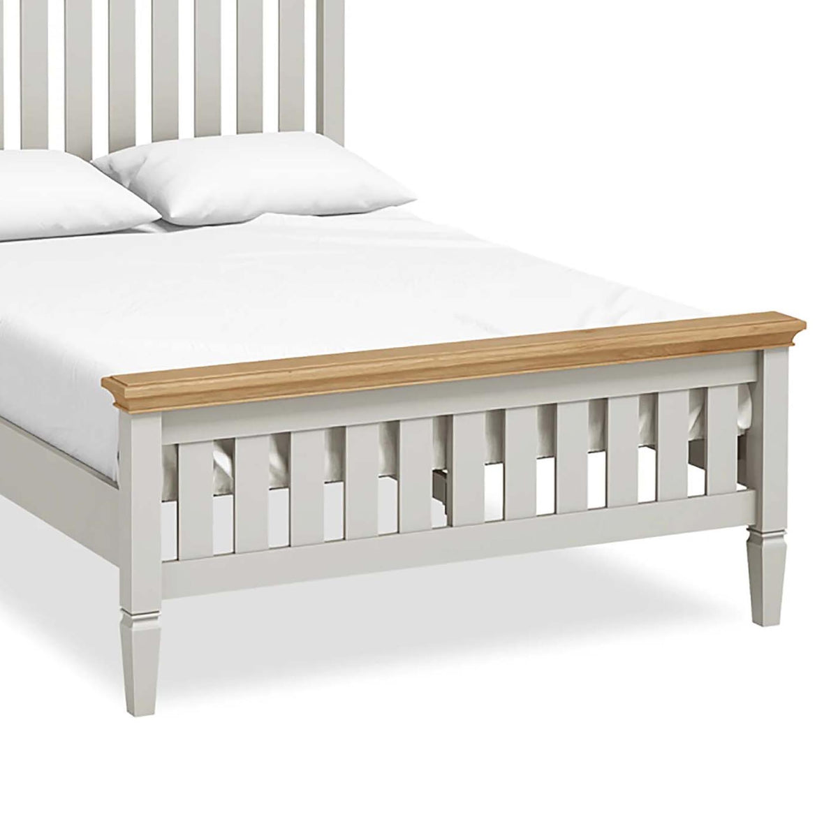 "Normandy Grey 4'6"" Bed Frame - Close Up of Bed End"
