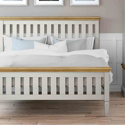 "Normandy Grey 4'6"" Bed Frame - Close Up of Lifestyle"