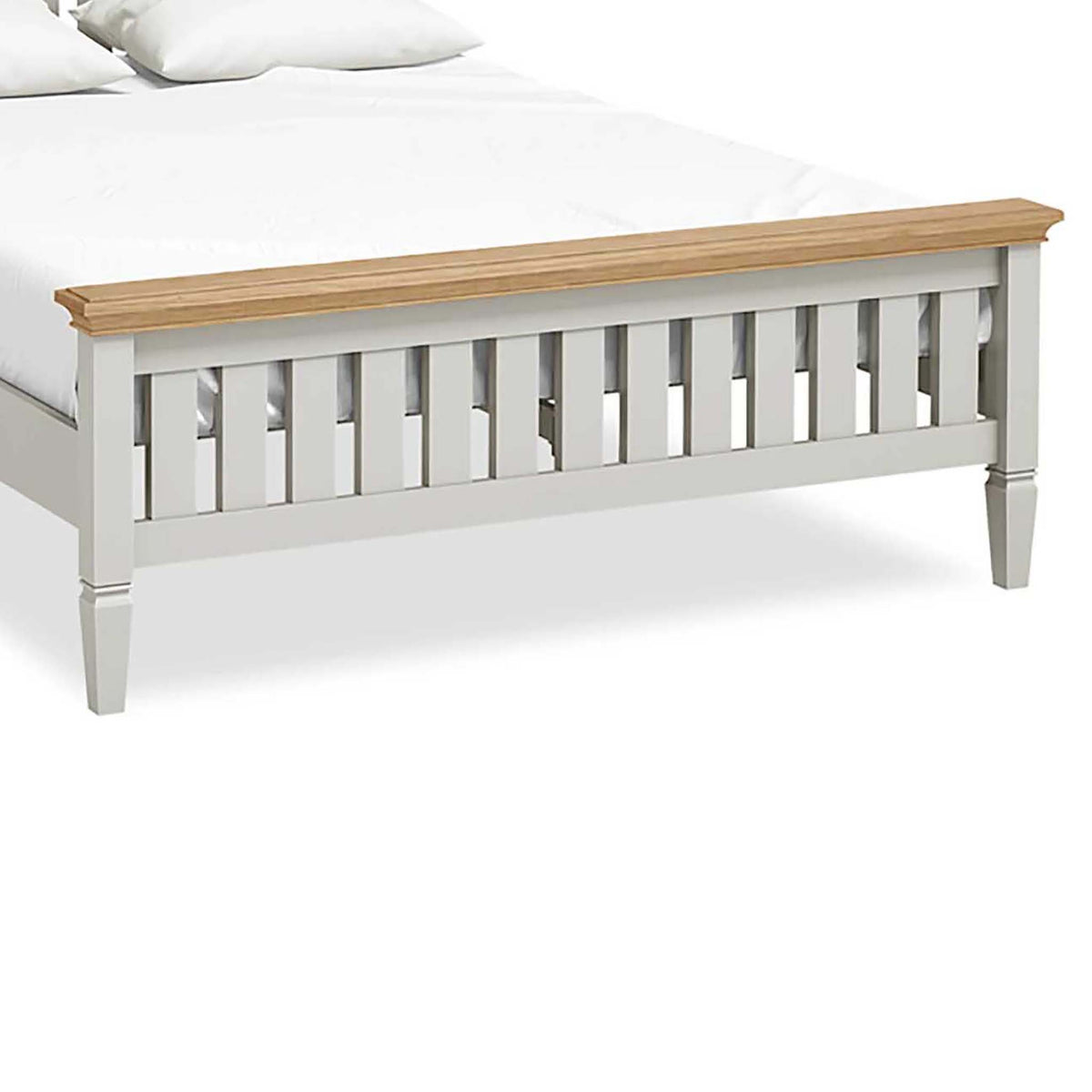 Normandy Grey 5' Bed Frame - Close Up of Bed Footer