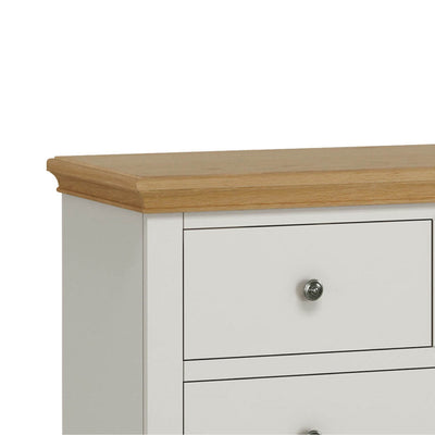 Normandy Grey 2 over 3 Chest of Drawers - Close up of top and drawer