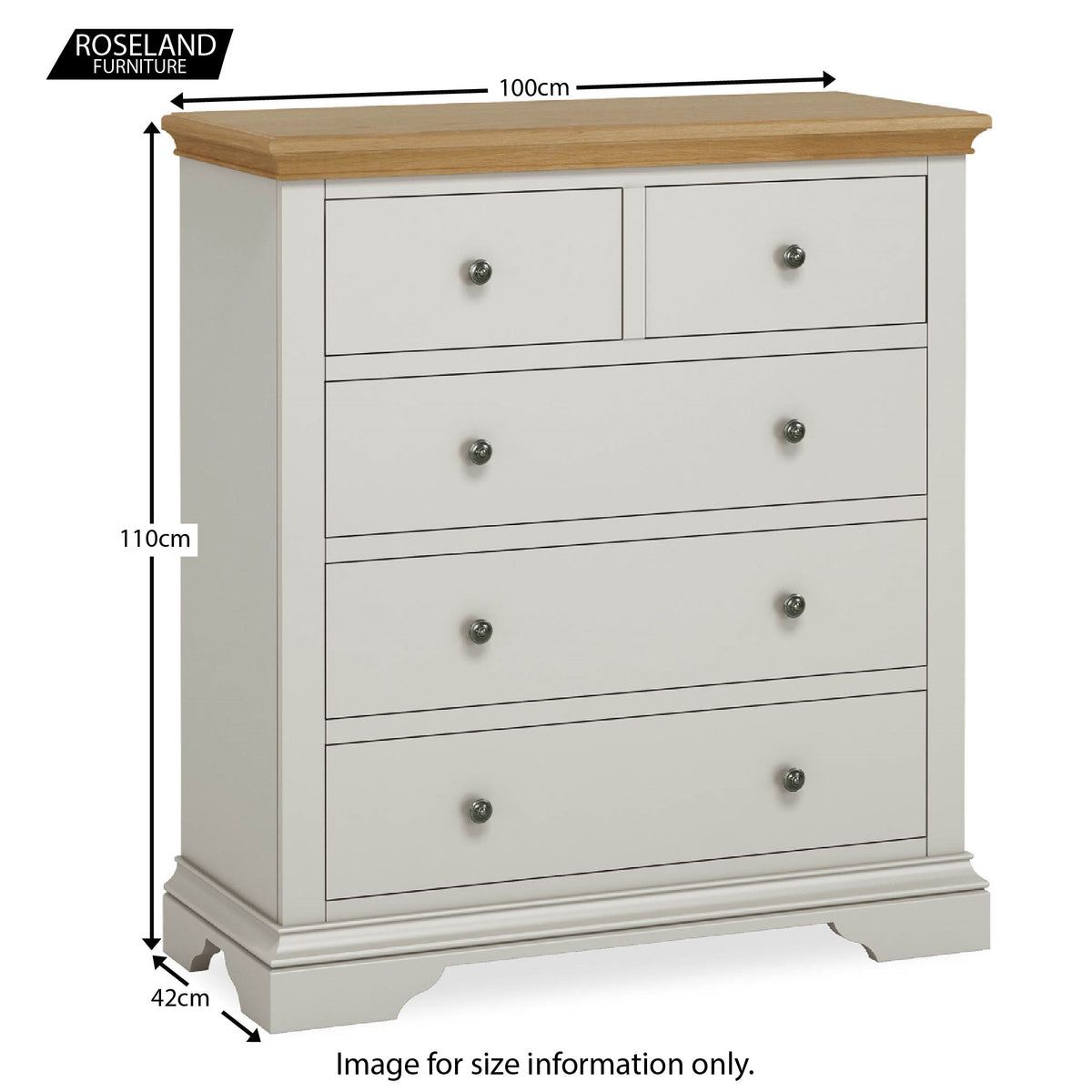 Normandy Grey 2 over 3 Chest of Drawers - Size Guide