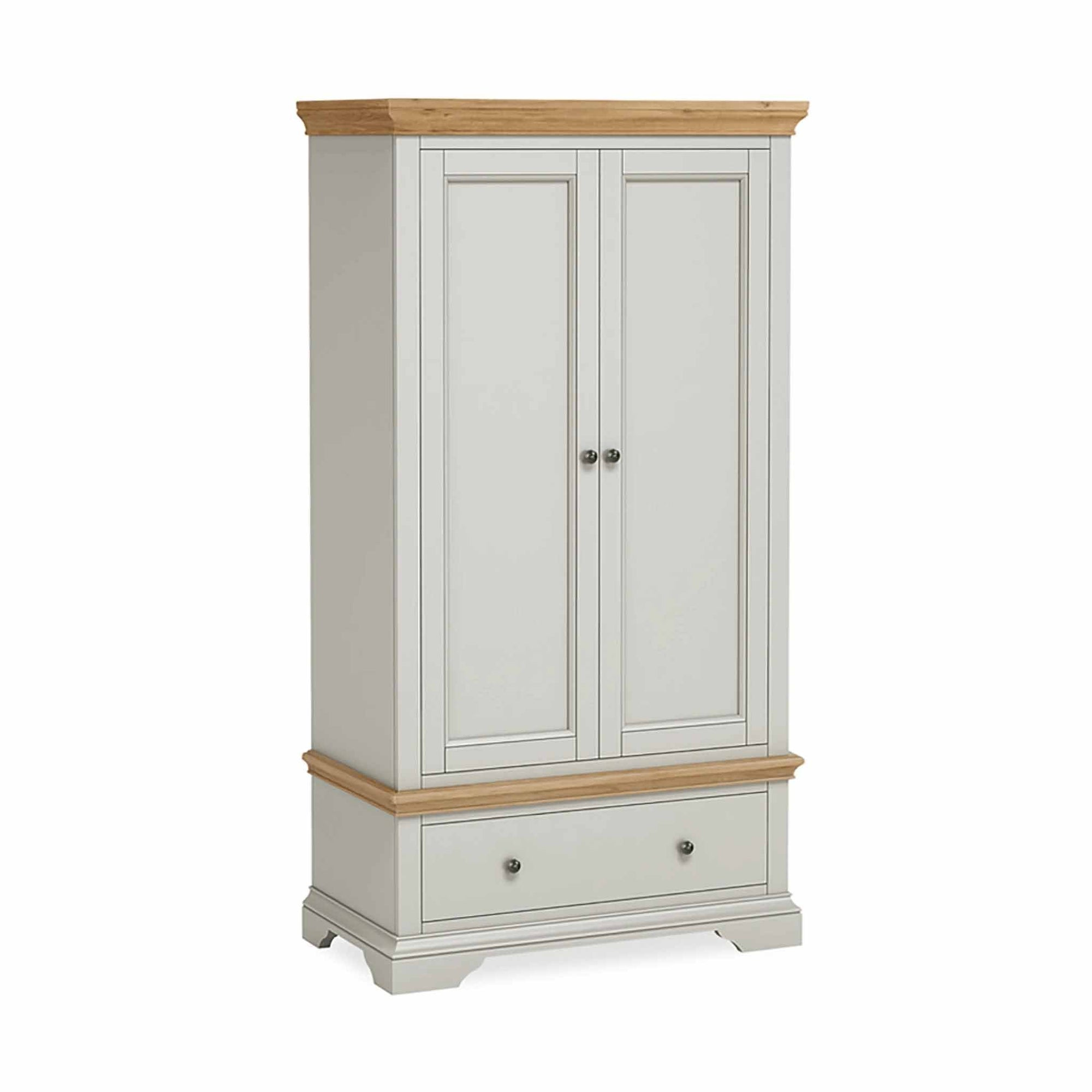 Normandy Grey Double Wardrobe with Drawer by Roseland Furniture