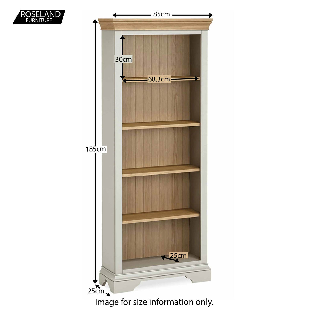 Normandy Grey Large Bookcase - Size Guide