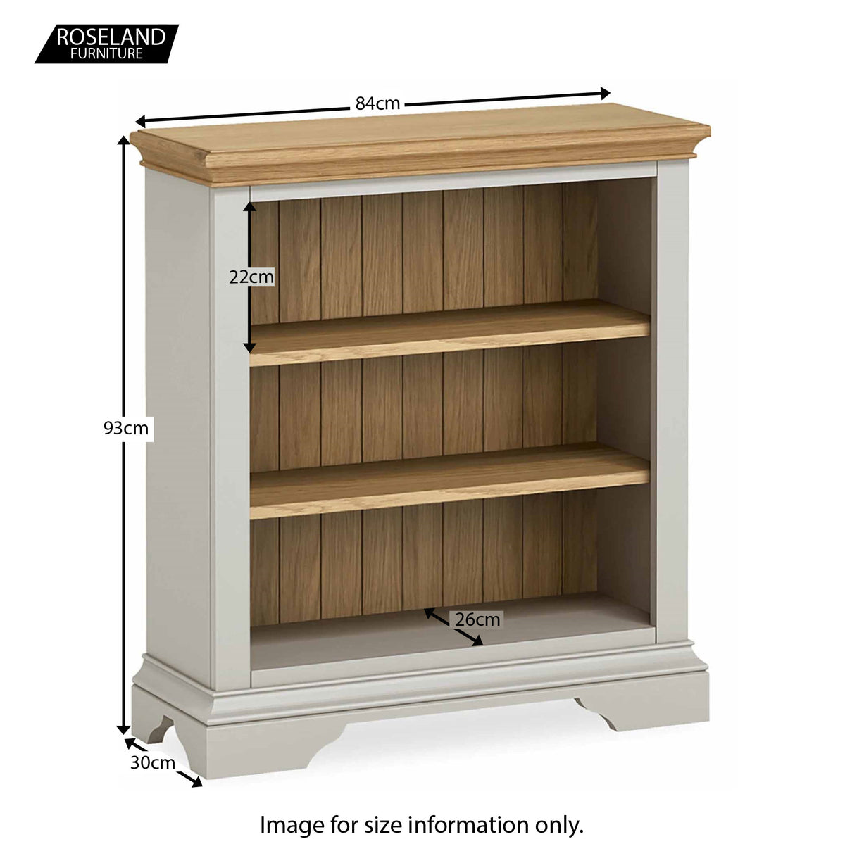 Normandy Grey Low Bookcase - Size Guide