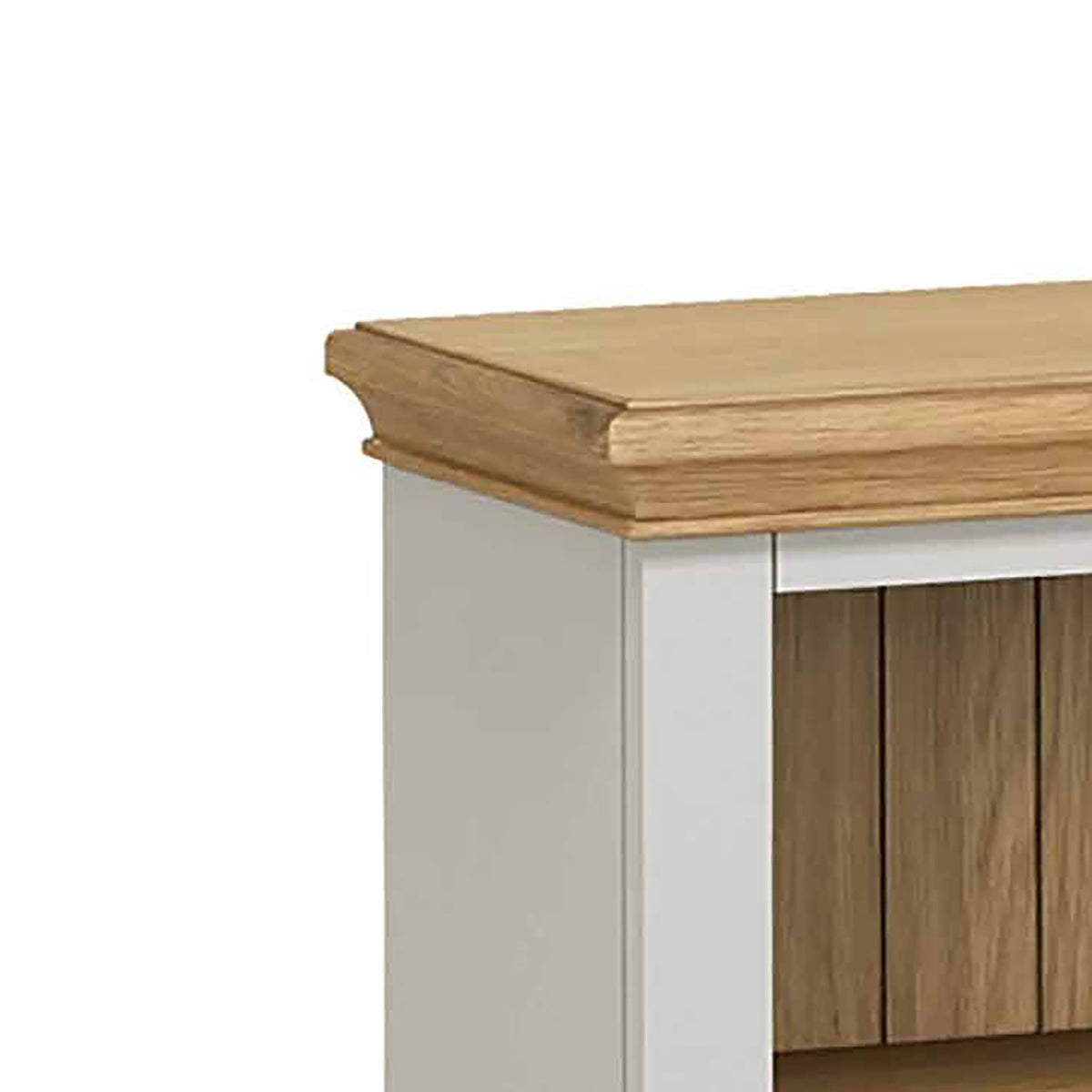 Normandy Grey Low Bookcase - Close Up of Oak Top