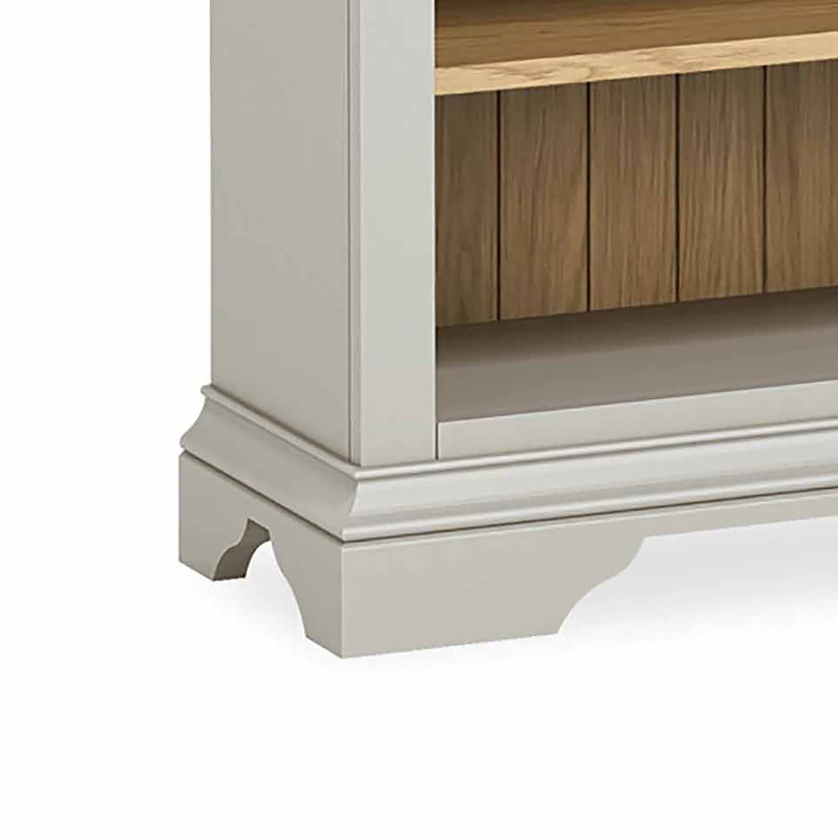 Normandy Grey Low Bookcase - Close Up of  Plinth Detail on Base