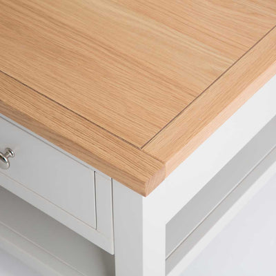 Close up of the oak top corner on the Farrow Grey Coffee Table