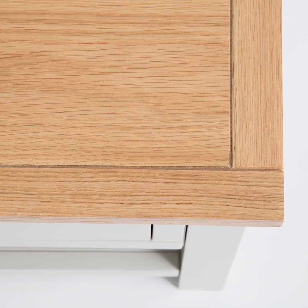 Close up of the oak tabletop on the Farrow Grey Coffee Table