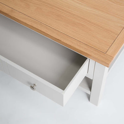Close up of the open drawers on the Farrow Grey Coffee Table