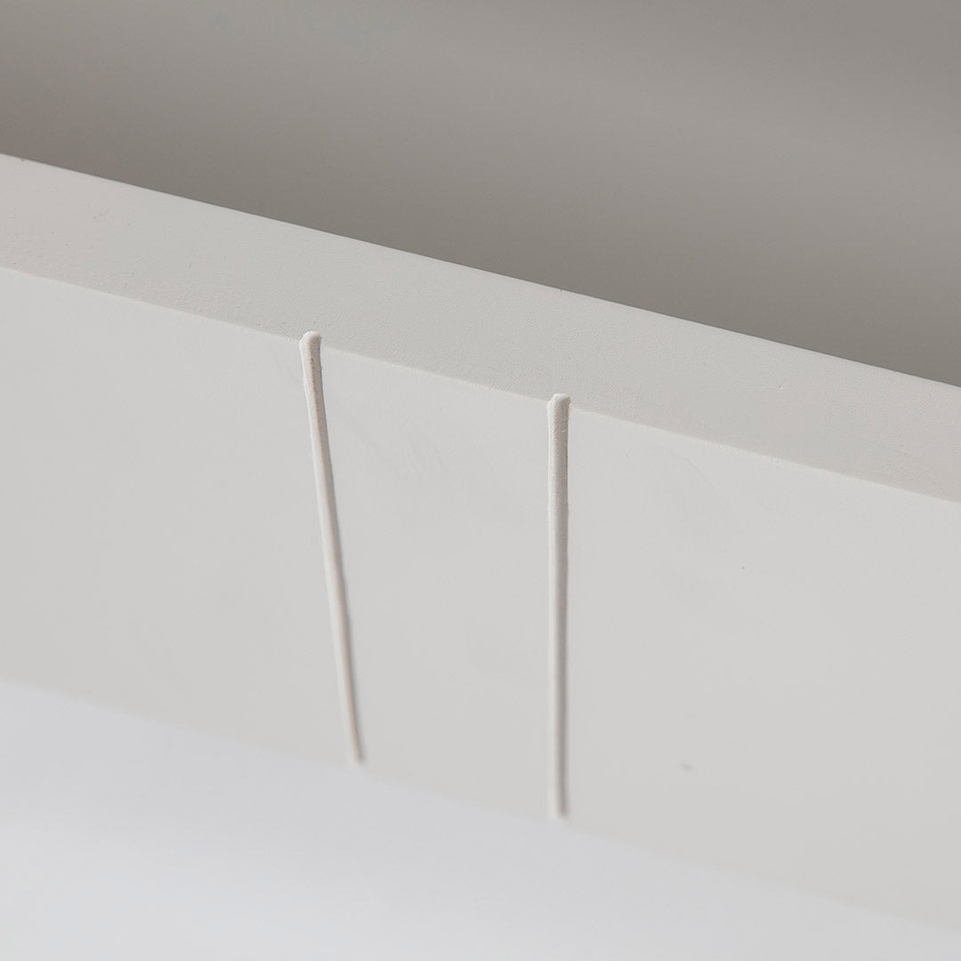 Close up of the drawer on the Farrow Grey Small TV Unit
