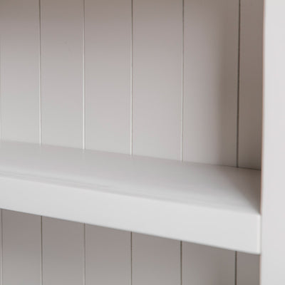 Close up of the bookcase back panels on the Farrow Grey Low Bookcase