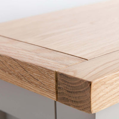 Close up of the oak top on the Farrow Grey Mini Sideboard