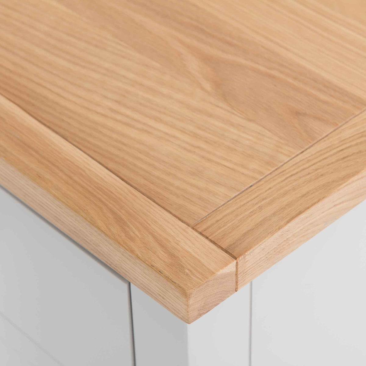 Close up of the oak top on the Farrow Grey Large Chest of Drawers
