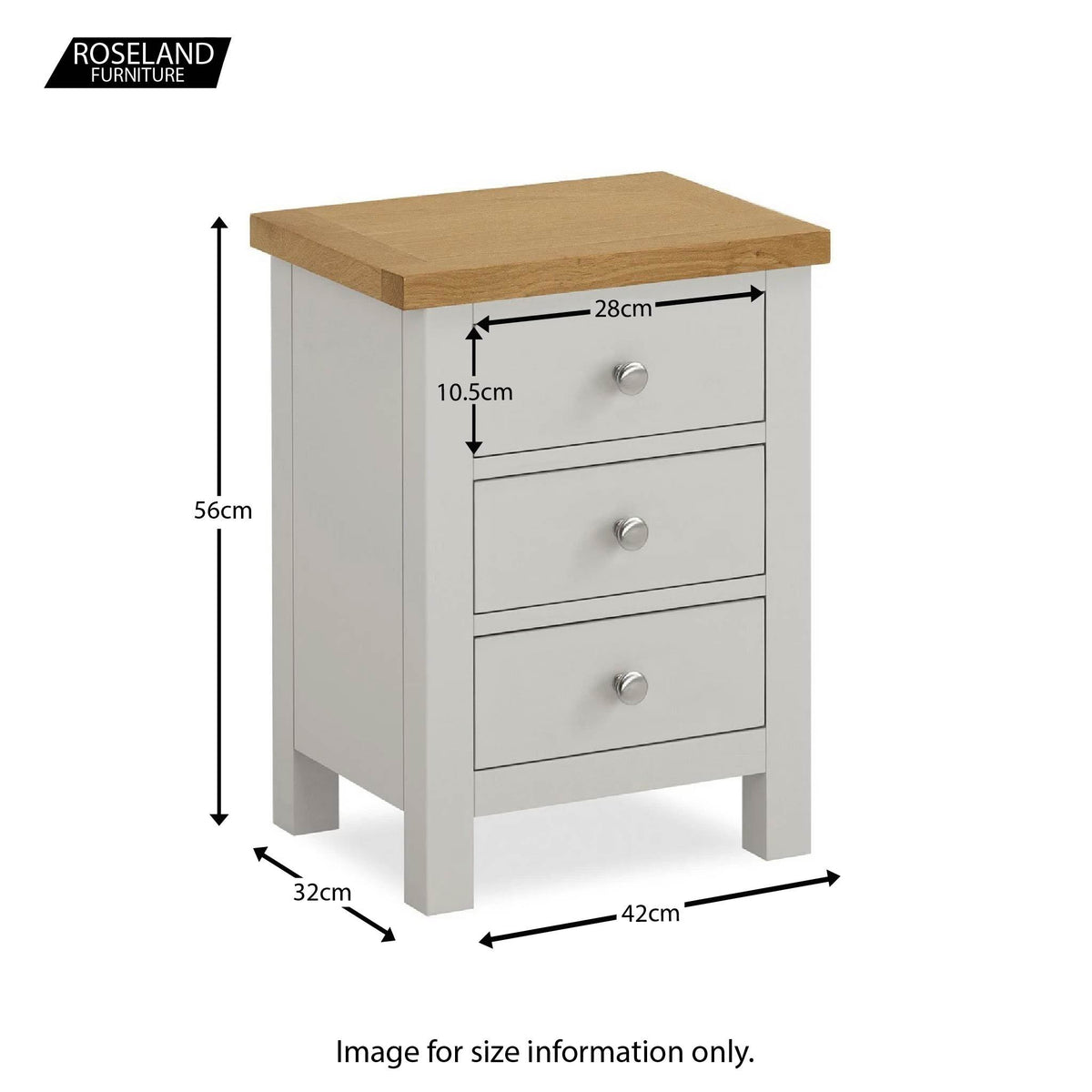 Farrow Grey Bedroom Set: Bedside Table - Size guide