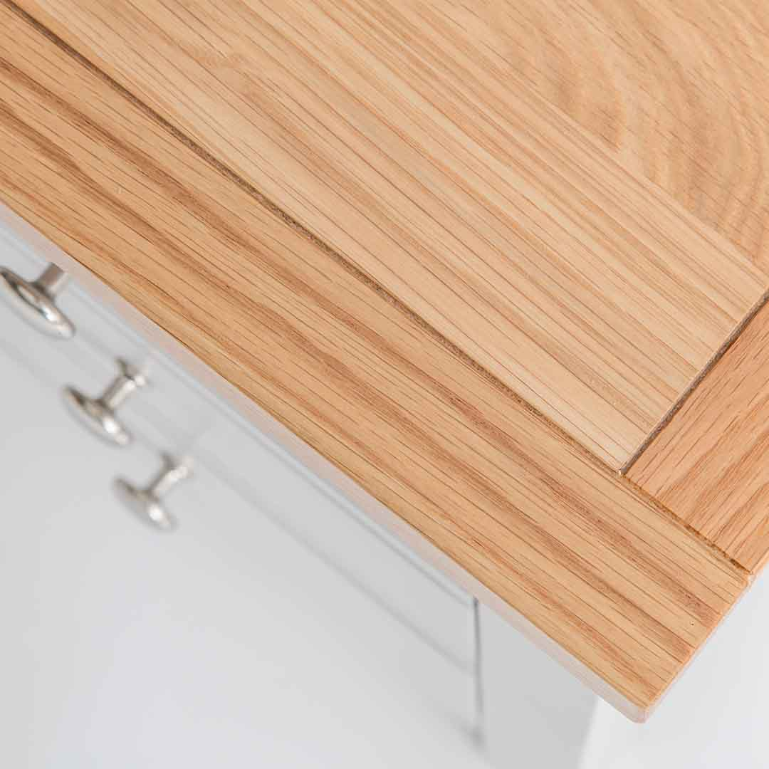 Close up of light oak top on the Farrow Grey Bedside Table