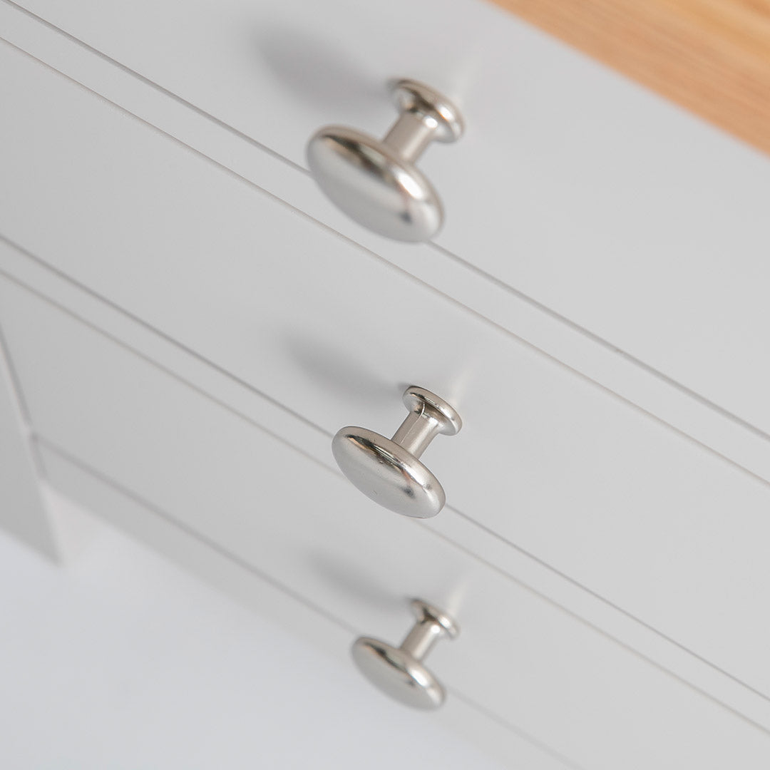 Close up of drawers on the Farrow Grey Bedside Table