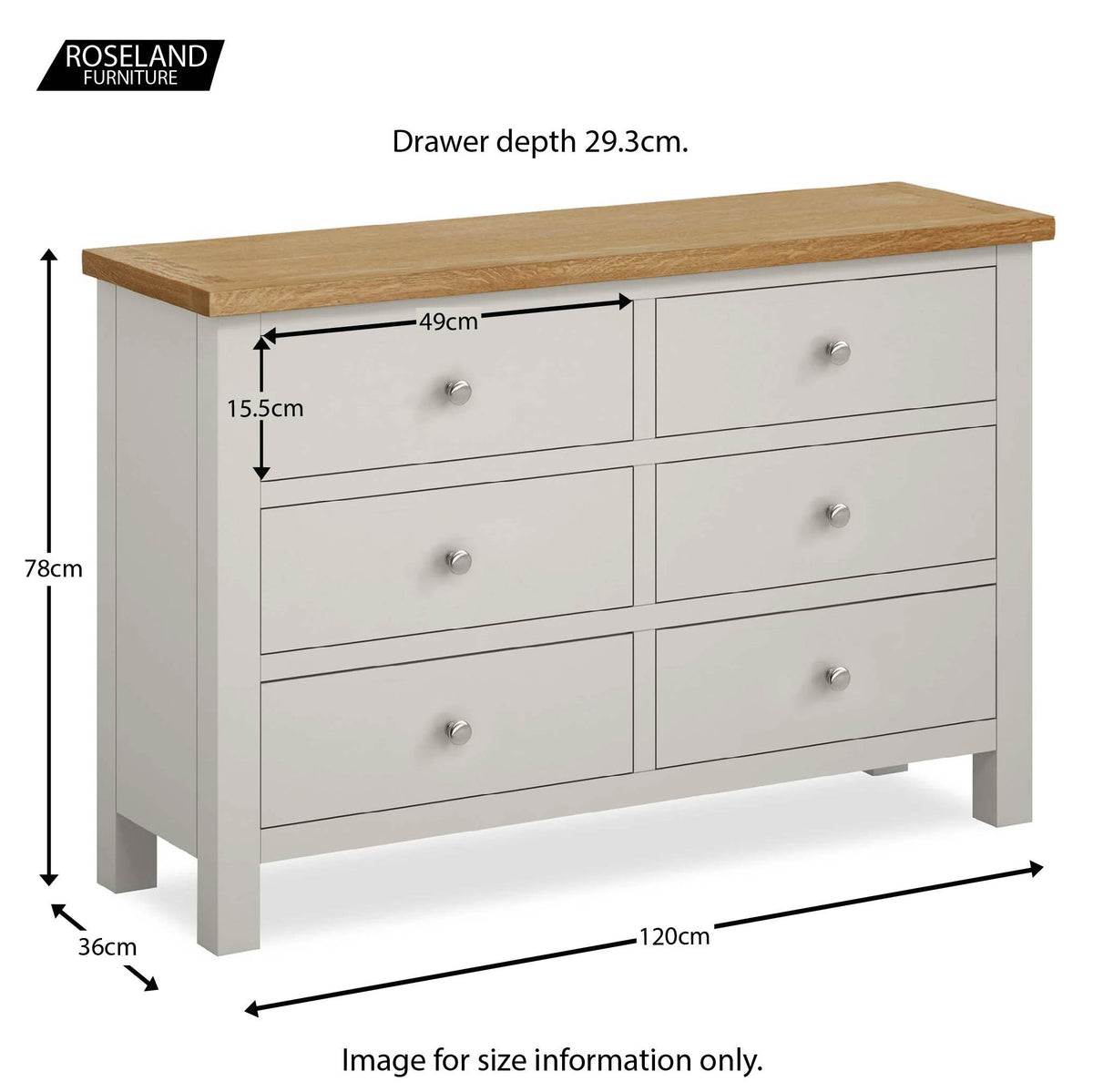 Farrow Grey 6 Drawer Chest of Drawers - Size Guide