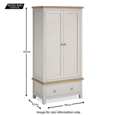 Farrow Grey Bedroom Set:  Double Wardrobe - Size guide