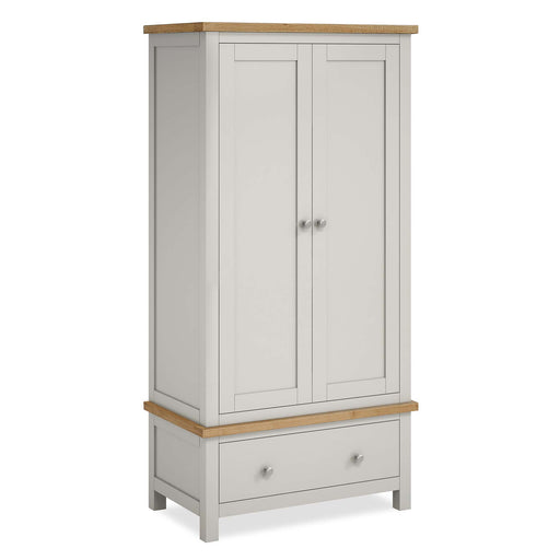 The Farrow Grey Double Wardrobe with Drawers by Roseland Furniture
