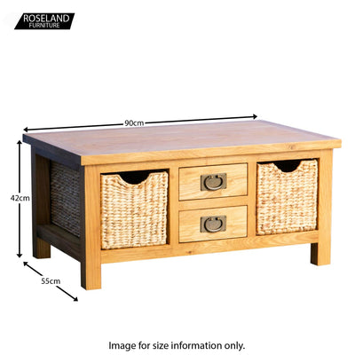 Surrey Oak Coffee Table with Baskets - Size Guide