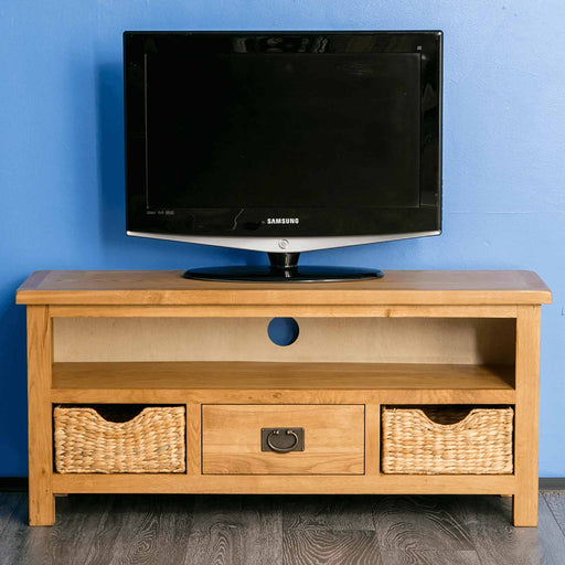 Surrey Oak Waxed 110cm TV Stand with Baskets by Roseland Furniture