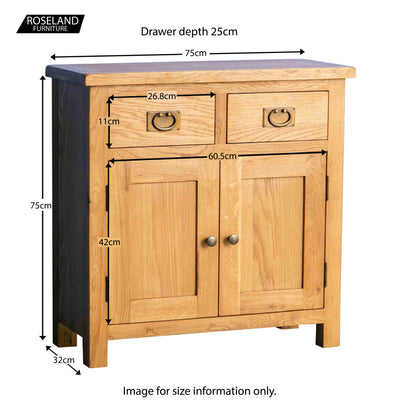 Surrey Oak Mini Sideboard - Size Guide