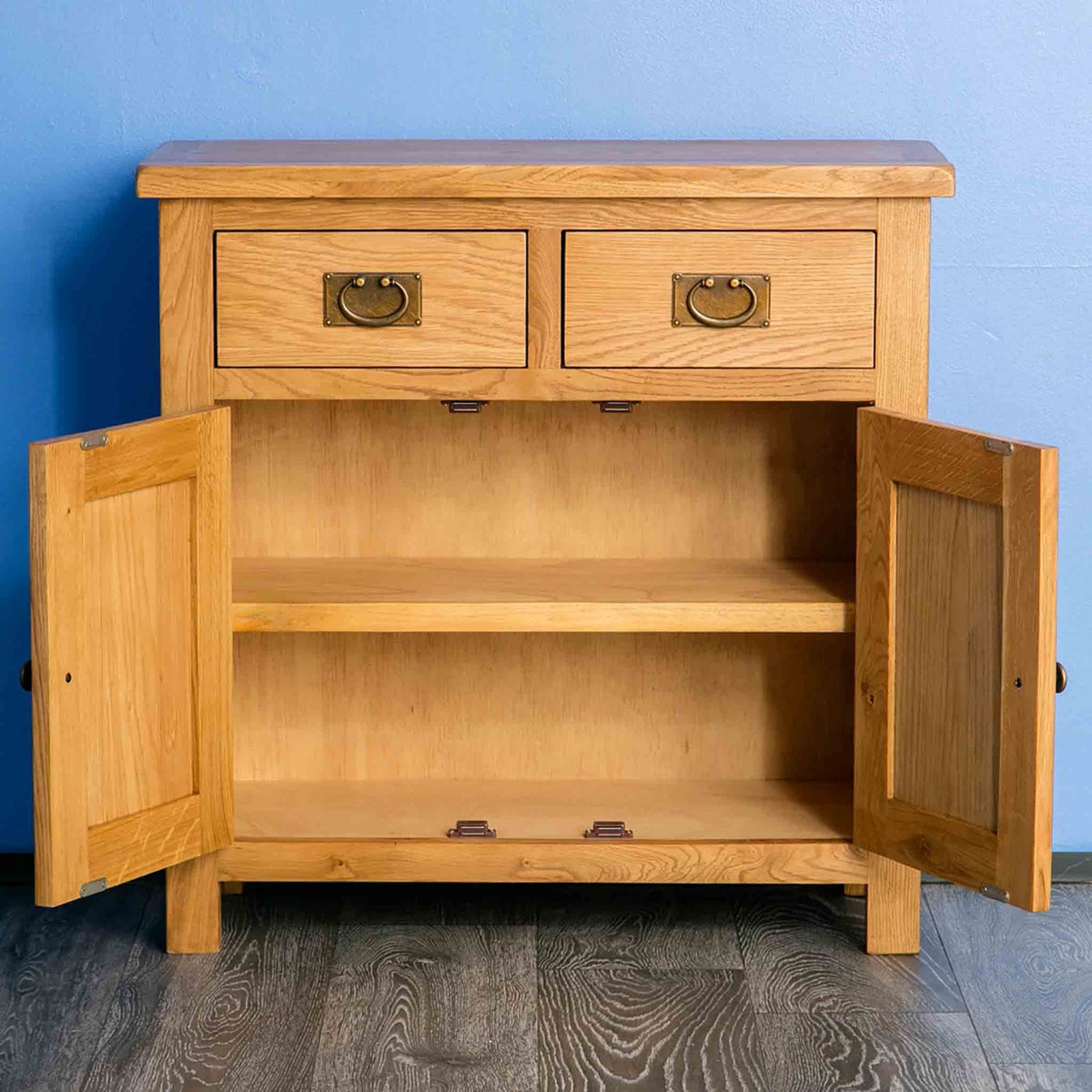 Surrey Oak Mini Sideboard with doors open