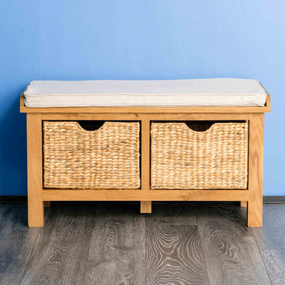 Surrey Oak Hall Bench with Baskets by Roseland Furniture