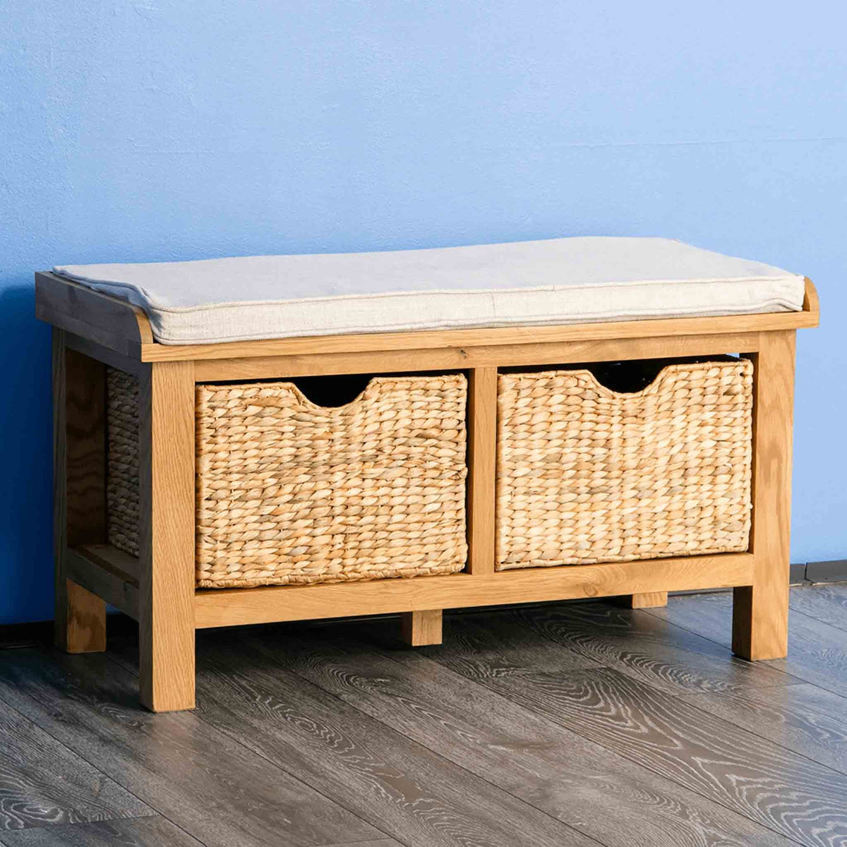 Surrey Oak Hall Bench with Baskets