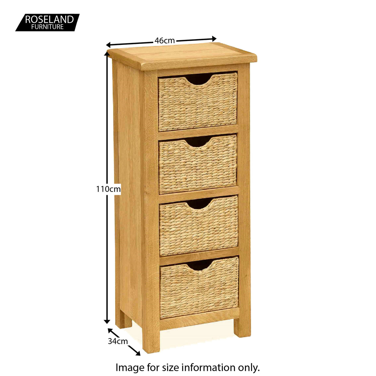 Surrey Oak Tallboy with Baskets - Size Guide